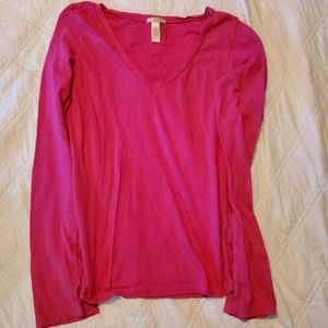 Solid pink long sleeved v-neck top cotton&spandex
